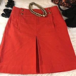 Tory Burch Sz 10 Pumpkin Orange Pleated Skirt